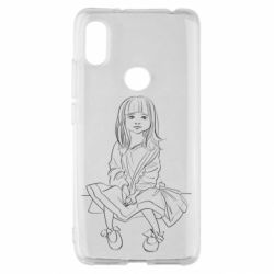 Чехол для Xiaomi Redmi S2 Outline drawing of a little girl
