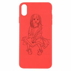Чехол для iPhone X/Xs Outline drawing of a little girl