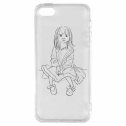 Чехол для iPhone5/5S/SE Outline drawing of a little girl