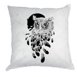 Подушка Owl and feathers