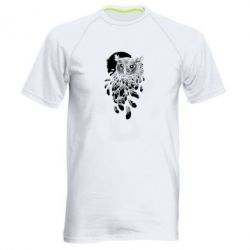Мужская спортивная футболка Owl and feathers