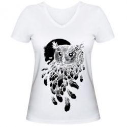 Купить Женская футболка с V-образным вырезом Owl and feathers, FatLine