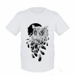Детская футболка Owl and feathers