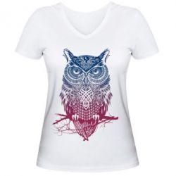 Женская футболка с V-образным вырезом Owl Art - FatLine