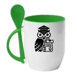 Кружка с керамической ложкой Owl Lawyer