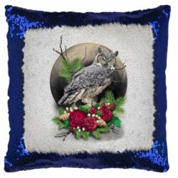 Подушка-хамелеон Owl on the background of the moon with flowers