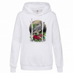 Толстовка жіноча Owl on the background of the moon with flowers