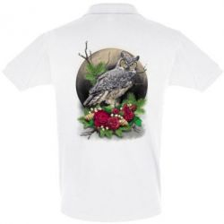 Футболка Поло Owl on the background of the moon with flowers