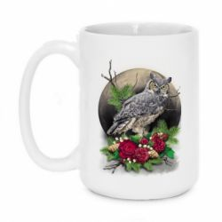 Кружка 420ml Owl on the background of the moon with flowers