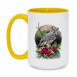 Кружка двоколірна 420ml Owl on the background of the moon with flowers