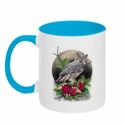 Кружка двоколірна 320ml Owl on the background of the moon with flowers