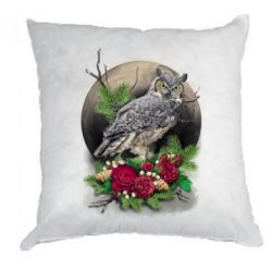 Подушка Owl on the background of the moon with flowers