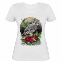Жіноча футболка Owl on the background of the moon with flowers