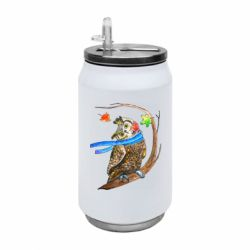 Термобанка 350ml Owl with a watercolor scarf