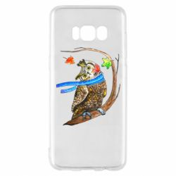 Чехол для Samsung S8 Owl with a watercolor scarf