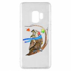 Чехол для Samsung S9 Owl with a watercolor scarf