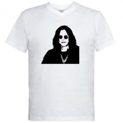 Мужская футболка  с V-образным вырезом Ozzy Osbourne face - FatLine