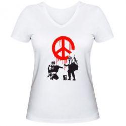 Женская футболка с V-образным вырезом Pacific - FatLine
