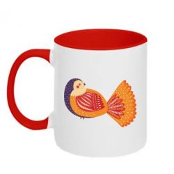 Кружка двоколірна 320ml Painted with patterns Bird