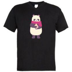 Мужская футболка  с V-образным вырезом Panda and Cappuccino