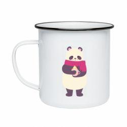 Кружка эмалированная Panda and Cappuccino