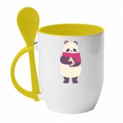 Кружка с керамической ложкой Panda and Cappuccino