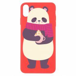 Чехол для iPhone X/Xs Panda and Cappuccino