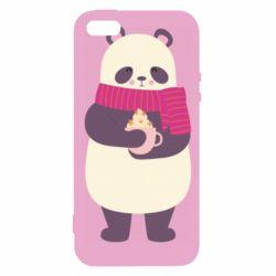 Чехол для iPhone5/5S/SE Panda and Cappuccino