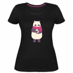 Женская стрейчевая футболка Panda and Cappuccino
