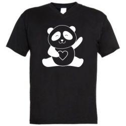 Чоловіча футболка з V-подібним вирізом Panda and heart