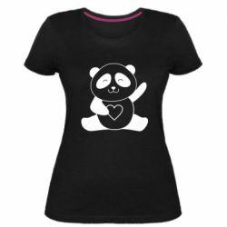 Жіноча стрейчева футболка Panda and heart