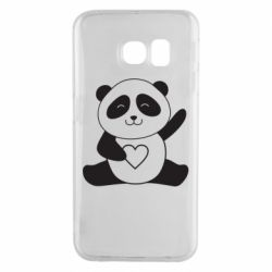 Чохол для Samsung S6 EDGE Panda and heart