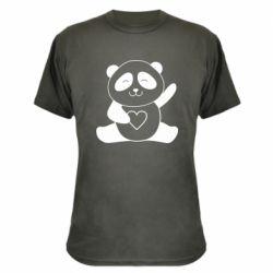 Камуфляжна футболка Panda and heart