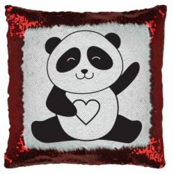 Подушка-хамелеон Panda and heart