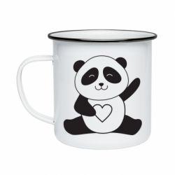 Кружка емальована Panda and heart