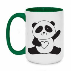 Кружка двоколірна 420ml Panda and heart
