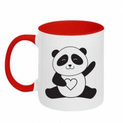 Кружка двоколірна 320ml Panda and heart