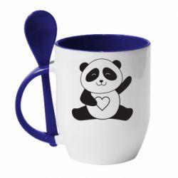Кружка з керамічною ложкою Panda and heart