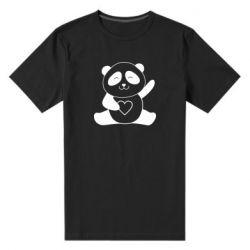 Чоловіча стрейчева футболка Panda and heart