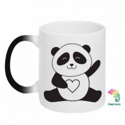 Кружка-хамелеон Panda and heart