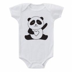 Дитячий бодік Panda and heart