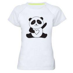 Жіноча спортивна футболка Panda and heart