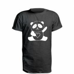 Подовжена футболка Panda and heart