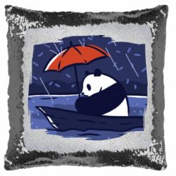 Подушка-хамелеон Panda and rain