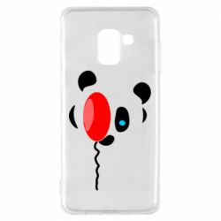 Чехол для Samsung A8 2018 Panda and red balloon