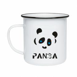 Кружка емальована Panda blue eyes