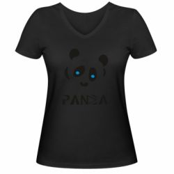 Жіноча футболка з V-подібним вирізом Panda blue eyes