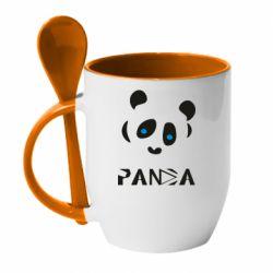 Кружка з керамічною ложкою Panda blue eyes