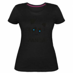 Жіноча стрейчева футболка Panda blue eyes