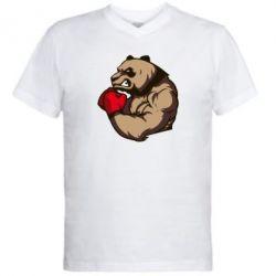 Мужская футболка  с V-образным вырезом Panda Boxing - FatLine